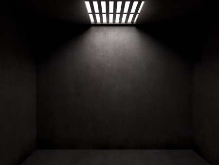 escape: Dark prison cell with concrete walls and open cieling Stock Photo