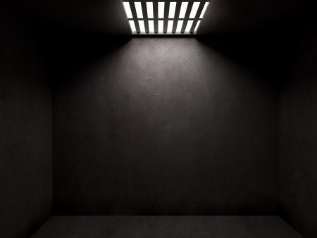 cell: Dunkle Gefängniszelle mit Betonwänden und offenen cieling Lizenzfreie Bilder