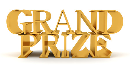 Golden text on top of each other spelling Grand Prize
