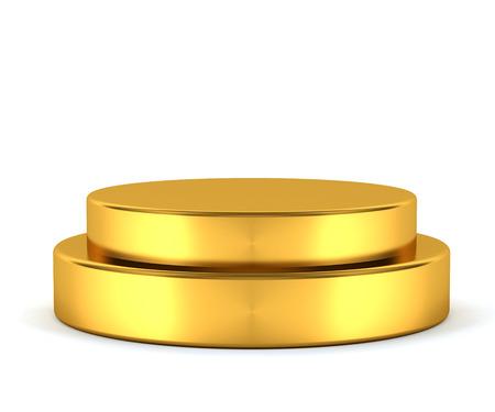 3d geproduceerd goud voetstuk geïsoleerd op witte achtergrond Stockfoto