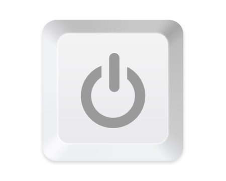 command button: keyboard Power button isolated on white