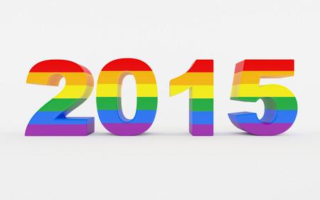 2015 3D tekst met Pride vlag kleuren geïsoleerd op een witte achtergrond