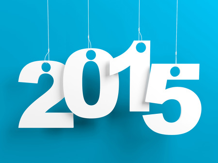 New year 2015 tags hanging on strings on blue background