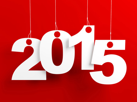 New year 2015 tags hanging on strings on red background
