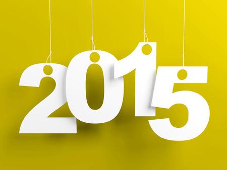 Nieuw jaar 2015 labels opknoping op snaren op gele achtergrond