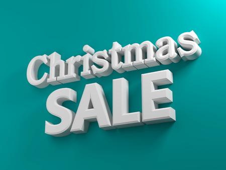 3D gegenereerd Kerst verkoop tekst op een blauwe achtergrond