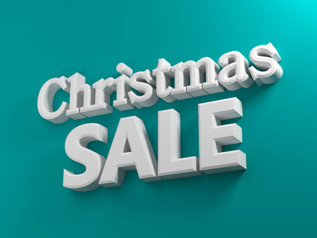 3D generated Christmas sale text on a blue background