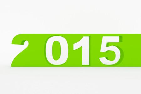 Nieuwe jaar 2015 3D geproduceerd beeld n witte achtergrond wordt geïsoleerde Stockfoto