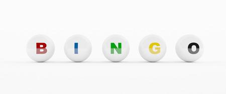 3D generated Bingo balls isolated on white background Imagens