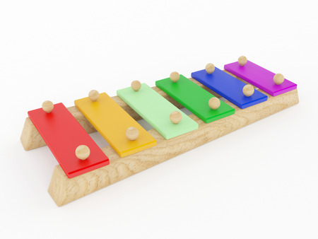 Clorful Xylophone musical toy isolated on white background.
