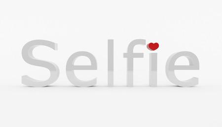 3D geproduceerd beeld van selfie tekst met hart