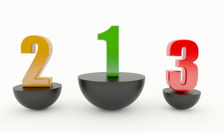 The numbers 123 on a black podium isolated on white. Standard-Bild