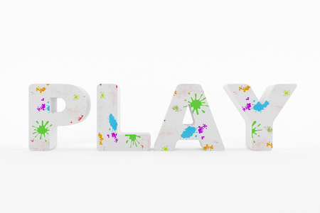 3D generated image of the text play with wonderful colors