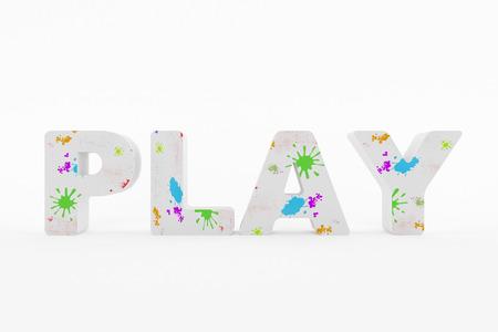 3D geproduceerd beeld van de tekst te spelen met prachtige kleuren