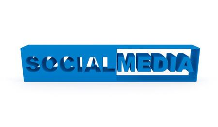 Social Media tekst. 3D-beeld gegenereerd op wit wordt geïsoleerd