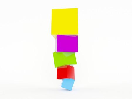 Kleurrijke kubussen staan. Geïsoleerd op witte achtergrond