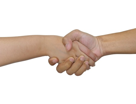 Shake hand men and women photo