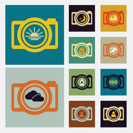 Camera scene icons set vintage color Vector