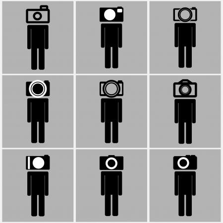 Camera head men set concept ideas black and white color Vector
