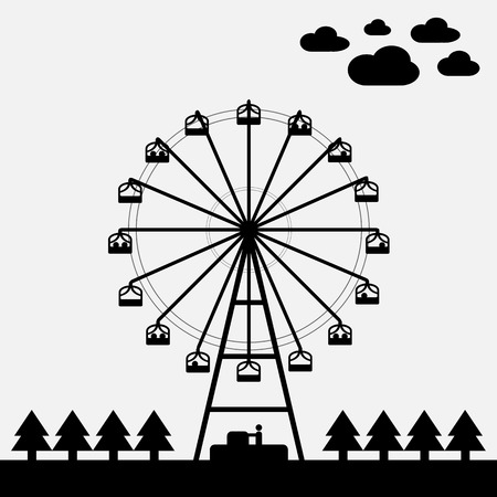 white color: Vector of ferris wheel black and white color