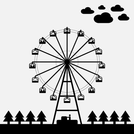 ferris wheel: Vector of ferris wheel black and white color