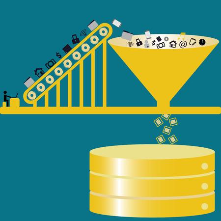 La technologie de données Big gestion de données publiques à la base de données - des idées de concept avec couleur cru