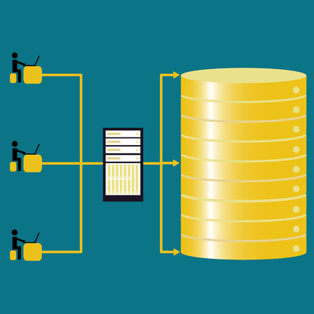 lan: Big data technology control the database with teams  - concept ideas with vintage color