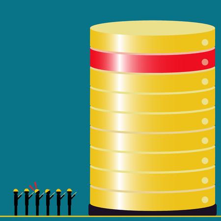 sistema operativo: Equipos de auditor�a de tecnolog�a de datos Big encontraron el problema - las ideas conceptuales con color de la vendimia Vectores