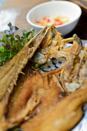 snakehead: Fried Snakehead Fish with Fish Sauce Stock Photo
