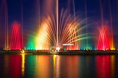 Light and music magic fountain colors at flower winter festival Thai