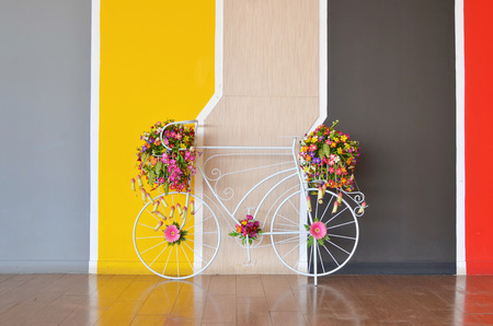decorated bike: beauty bicycle and flower decorated on wall.