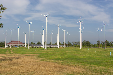 huahin: A View of Solar Panels and Wind Turbine in the Field at Chang-Hua-Mun, Royal Initiative Project, Huahin Thailand.