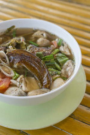 dry fish: Sour and Spicy Smoked Dry Fish Soup