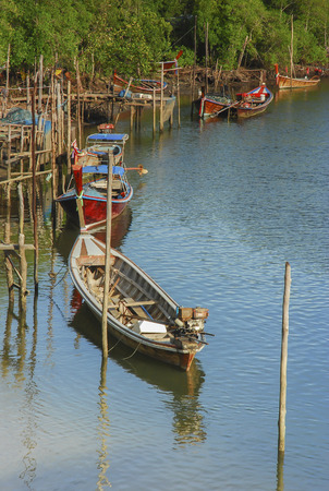 phangnga: Long-tailed boat at mangrove forest Stock Photo