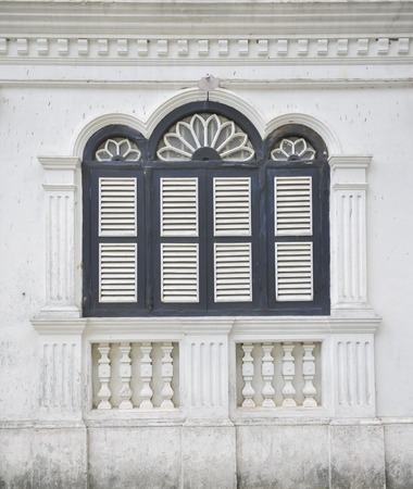 influenced: Sino Portuguese Architecture influenced building in Phuket. Stock Photo