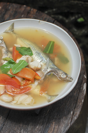 Spicy lemon grass soup Mackerel ,Tom Yam, canned fish,thai food photo
