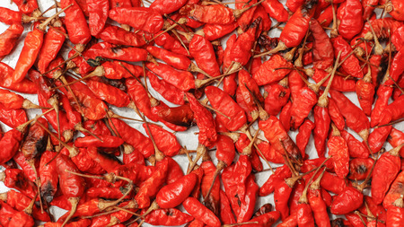 capsaicin: Hot dried red chillies as a textured food background.