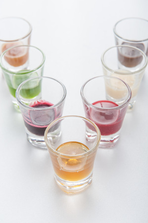 rainbow cocktail: Group of drinks in rainbow colors