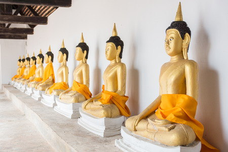 wang: Many golden buddha statues at Wat Wang (Phatthalung City, Thailand)