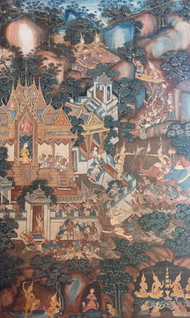 fighting styles: SONGKHLA, THAILAND - AUGUST 23, 2015: Traditional Thai mural painting the Life of Buddha and Thai life style on wall of temple at WAT MATCHIMAWAT OR WAT KLANG (SONGKHLA THAILAND)
