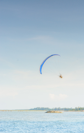 engine powered: Paramotor on the sky in the evening:Close up,select focus with shallow depth of field:ideal use for background Stock Photo