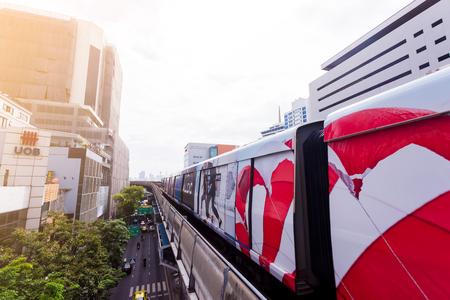 Bangkok Thailand : September 15, 2018 : Skytrain or BTS go to Saladaeng station, Silom road that is business center in bangkok. Redakční