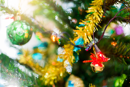 Shine to Christmas tree for christmas holiday background. New Year holidays background.