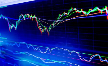 Selektywne skupienie się na wykresach wykresów biznesowych instrumentów finansowych z różnymi rodzajami wskaźników w połączeniu ze złotem, księgą rachunkową i pieniędzmi. Koncepcja inwestycji. Wykres średniej ruchomej
