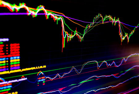 Selective focus of Business graph charts of financial instruments with various type of indicators combine with gold and account book and money. Concept investment. Moving average graph Imagens