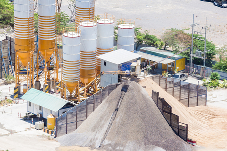 Cement mixing plant, equipment for production cement and concrete. Concrete plant, Concrete Batching Plant at construction material factory, Thailand.