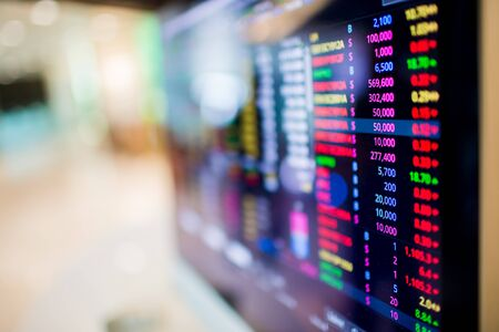 Stock exchange market business concept with selective focus effect. Display of Stock market quotes.