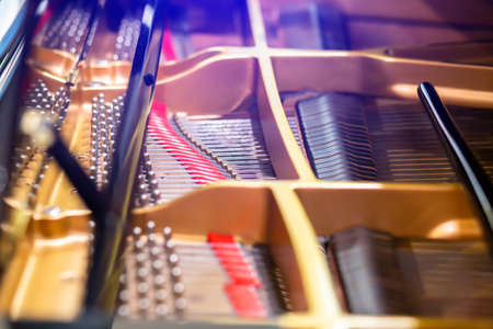 selective focus to Inside a grand piano. Interior of a grand piano. Showing strings, hammers and structure. Zdjęcie Seryjne