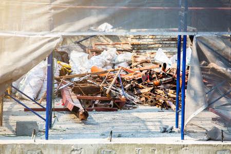 Scrap iron on construction site. construction waste.