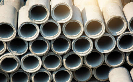 Concrete drainage pipes for industrial building construction. Industrial concrete pipe for building construction. Zdjęcie Seryjne